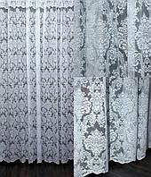 Красивый белый тюль жаккард «Премиум», с вышивкой «корона» (Турция). Гардина белая в зал, спальню, гостиную