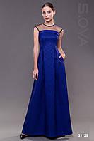 Длинное вечернее платье в пол синие
