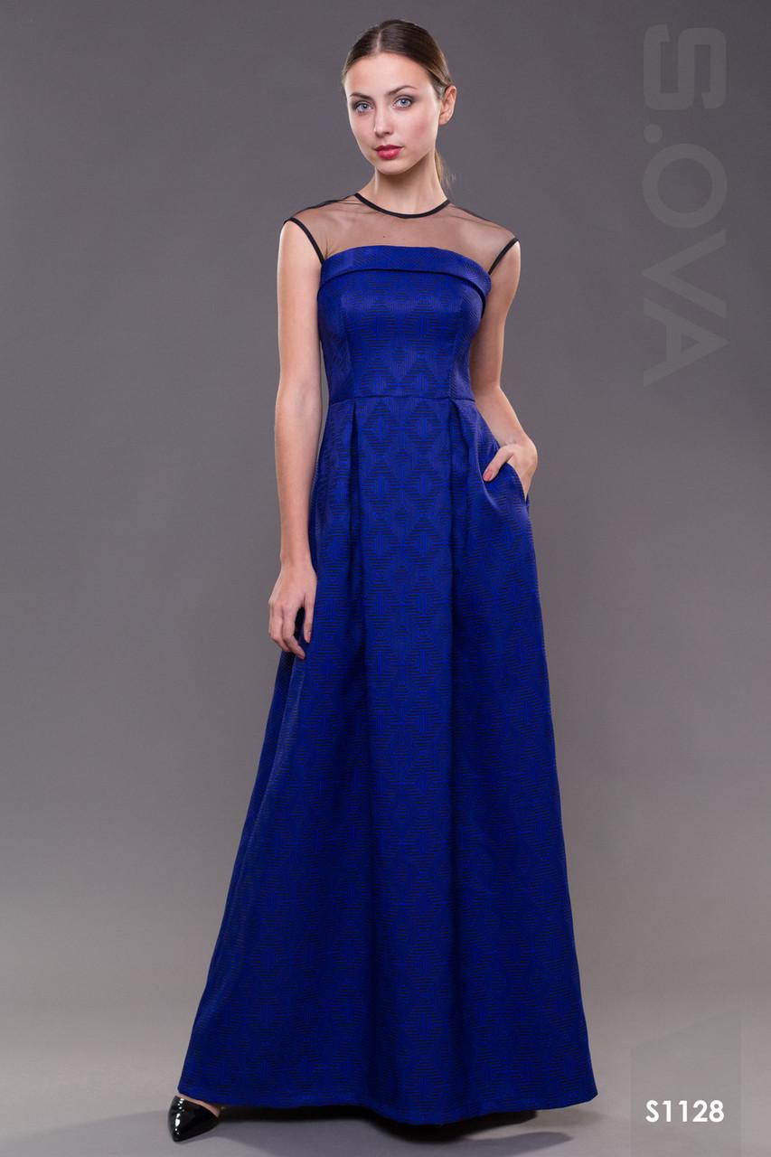 7ed406b30d0e Длинное вечернее платье в пол синие - Интернет-магазин женской одежды