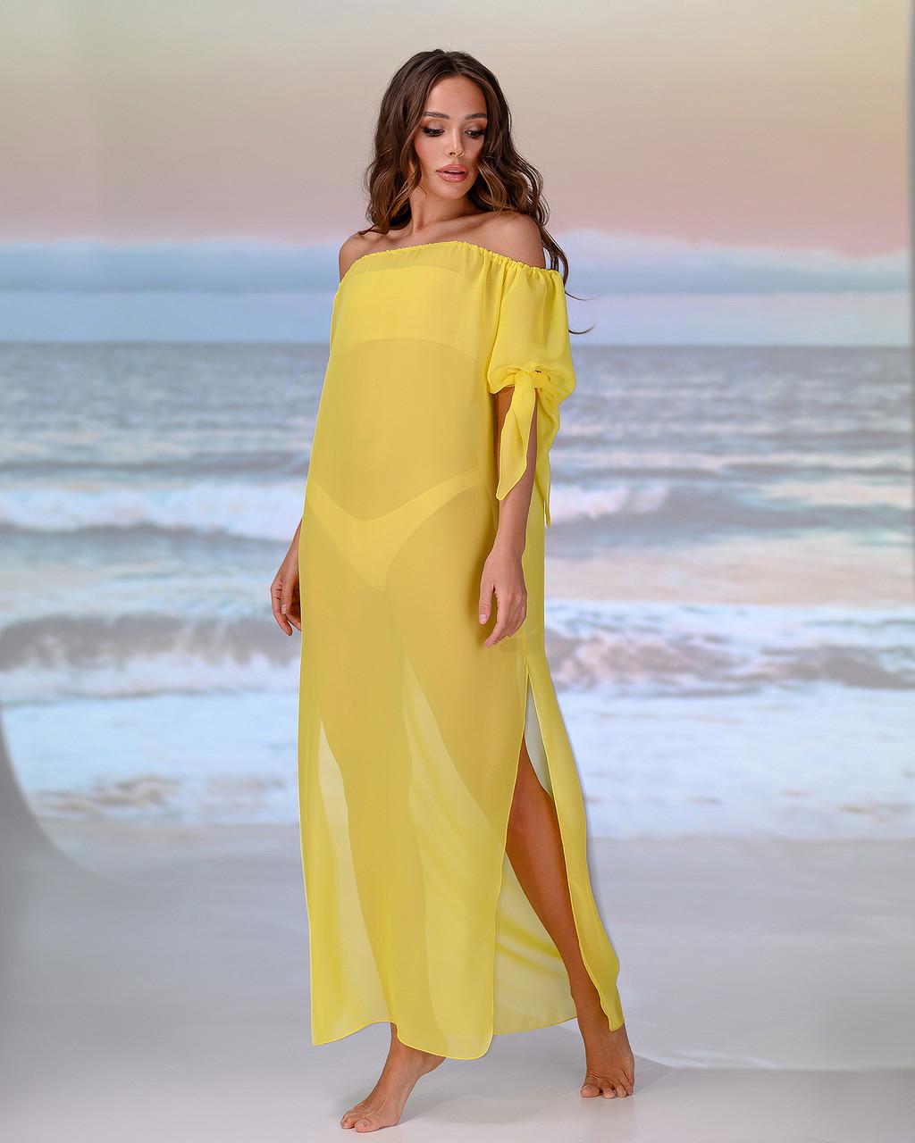 Довга пляжна туніка зі спущеними плечима розмір 42-44 р. колір жовтий