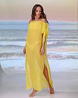 Довга пляжна туніка зі спущеними плечима розмір 42-44 р. колір жовтий, фото 1