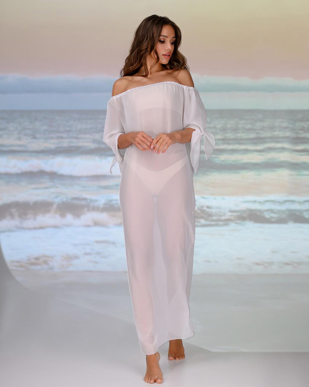 Довга пляжна туніка зі спущеними плечима розмір 46-48р. колір білий