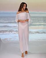 Довга пляжна туніка зі спущеними плечима розмір 46-48р. колір білий, фото 1