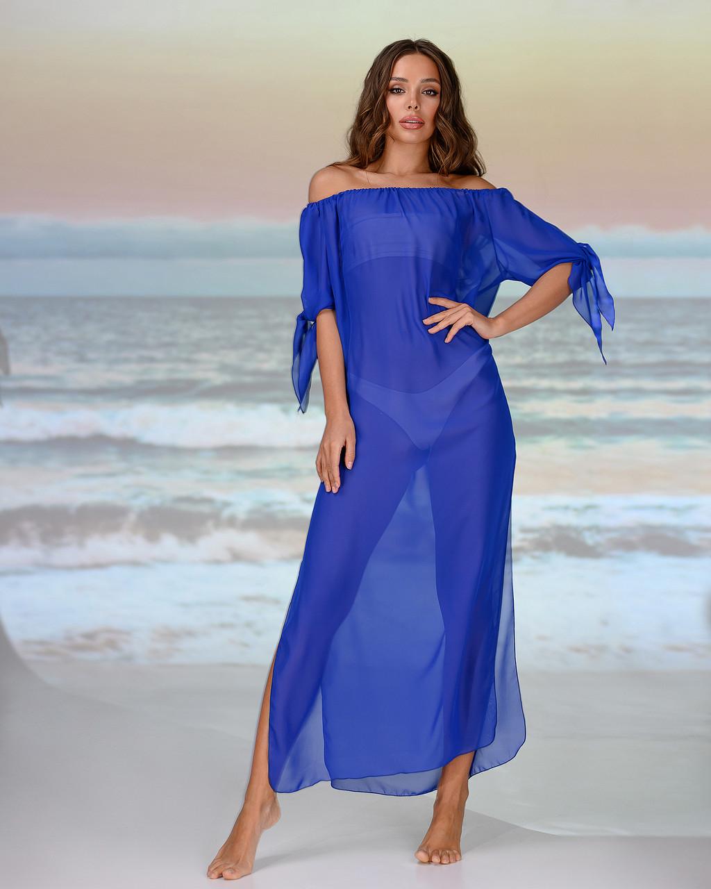 Длинная пляжная туника со спущенными плечами размер 46-48. цвет электрик