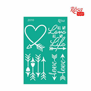 """Трафарет багаторазовий самоклеючий """"Love"""" 13х20см №2010/GPT50046001/Rosa Talent"""