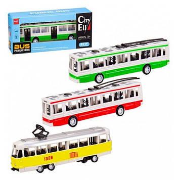 Тролейбус / трамвай 18см,в кор-ці,20,5х8,5х5см №J0093((96)