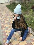 Демисезонный вязаный набор шапочка и снуд для девочки ручной работы., фото 8