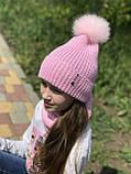 Демисезонный вязаный набор шапочка и снуд для девочки ручной работы., фото 5
