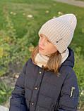 Демисезонный вязаный набор шапочка и снуд для девочки ручной работы., фото 4