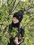 Демисезонный вязаный набор шапочка и снуд для девочки ручной работы., фото 7