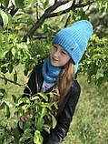 Демисезонный вязаный набор шапочка и снуд для девочки ручной работы., фото 6
