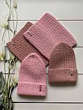 Демисезонный вязаный набор шапочка и снуд для девочки ручной работы., фото 3