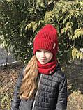 Демисезонный вязаный набор шапочка и снуд для девочки ручной работы., фото 9