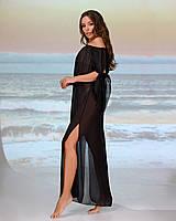 Довга пляжна туніка зі спущеними плечима розмір 46-48. колір чорний, фото 1