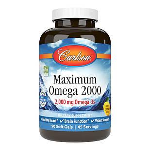 Carlson Labs Maximum Omega 2000 риб'ячий жир максимальної концентрації з лимоном 2000 мг на порцію 90 ЖК