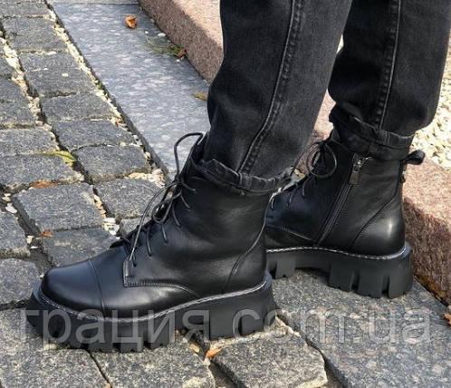 Стильні шкіряні молодіжні черевики на платформі
