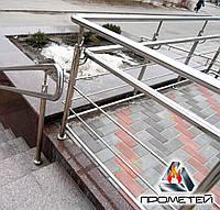 Ограждения пандуса из нержавеющей стали AISI 201, поручень Ø38 мм, стойка Ø42 мм, 2 ригеля Ø16 мм, Прилуки, фото 1