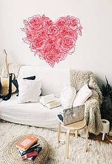 Наклейка виниловая Сердце из роз ♡ красный 1000x860мм Подарок на 8 марта любимой девушке, жене, маме, подруге