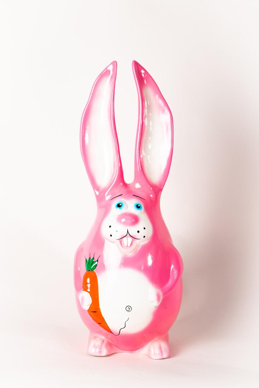 """Садова фігурка """"Заєць рожевий"""" висота=55см"""