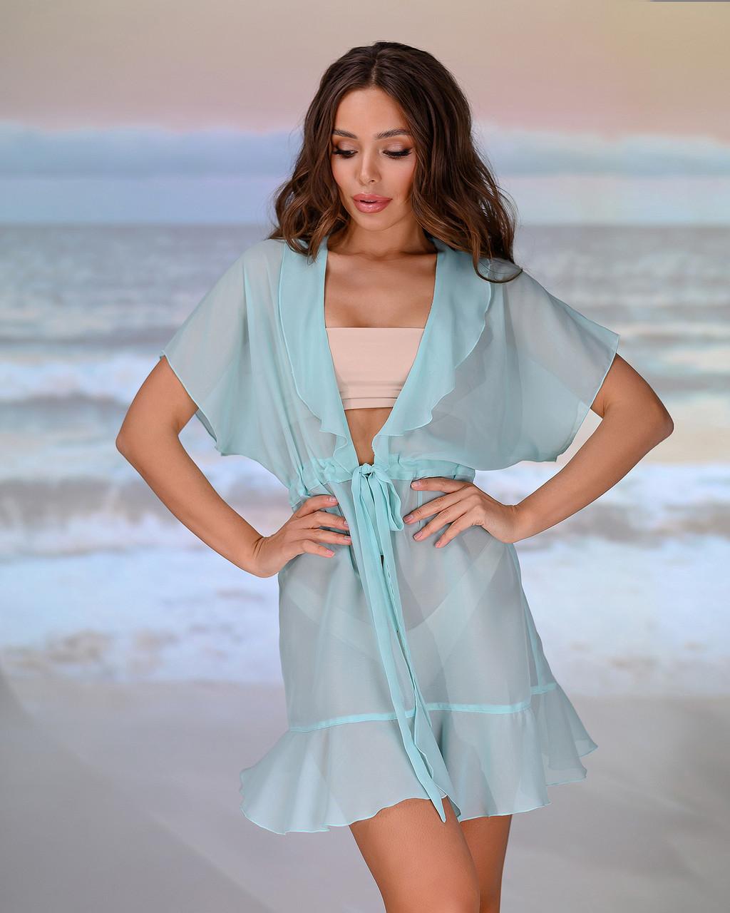 Короткая пляжная туника 206, цвет - тиффани. Размер 46-48