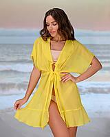 Коротка пляжна туніка 206, колір - жовтий. Розмір 46-48