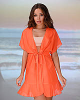 Коротка пляжна туніка 206, колір -помаранчевий. Розмір 42-44