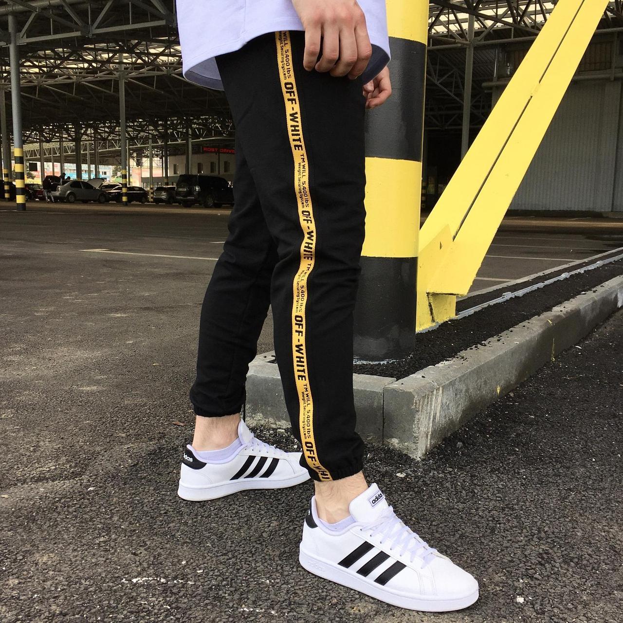 Спортивные штаны Off-White с лампасом мужские черные в стиле Офф-Вайт Весна/осень S