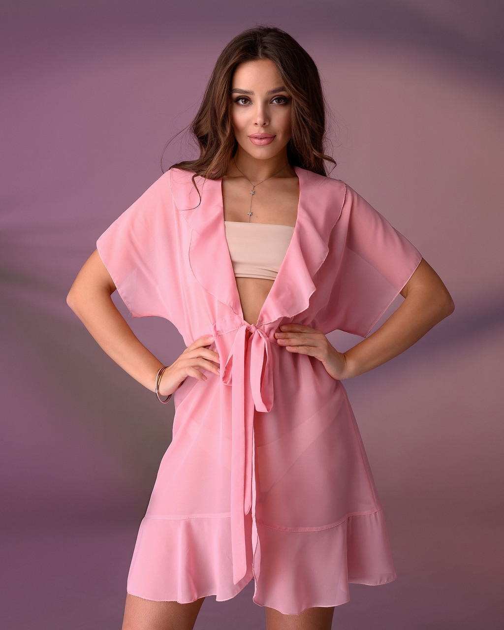 Короткая пляжная туника 206, цвет - нежно-розовый. Размер 46-48