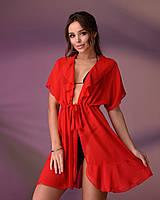 Коротка пляжна туніка 206, колір - червоний.Розмір 46-48
