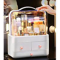Органайзер стойка для косметики с защитой от влаги пыли Двухъярусный бокс Cosmetic Storage Box LD-288 Серый