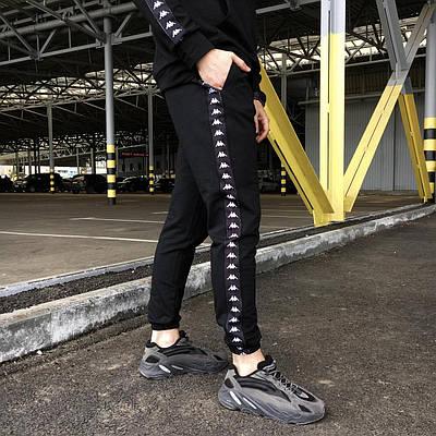 Спортивные штаны Kappa с лампасом мужские черные весна/осень в стиле Каппа