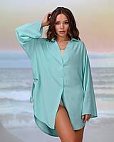 Короткая пляжная туника-рубашка.Цвет мята. Размер 42-44, фото 1