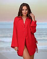 Короткая пляжная туника-рубашка.Цвет красный. Размер 42-44, фото 1