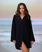Короткая пляжная туника-рубашка.Цвет черный. Размер 42-44, фото 1