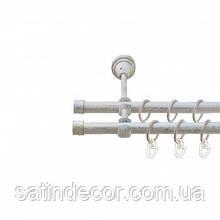 Карниз для штор металевий ЗАГЛУШКА подвійний 19+19мм 2.4 м Біле золото