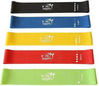 Фитнесс резинки для фитнеса и занятий спортом эспандеры Fit Simplify набор резинок из 5 шт + сумка-чехол