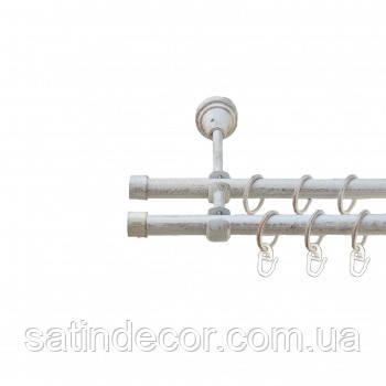 Карниз для штор металевий ЗАГЛУШКА подвійний 19+19мм 3.0 м Біле золото