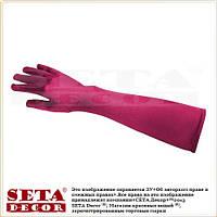 Длинные атласные малиновые перчатки