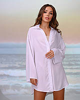 Коротка пляжна туніка-сорочка.Колір білий. Розмір 46-48