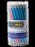 Олівець графітний, НВ з гумкою PASTEL Buromax, фото 2
