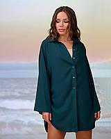 Коротка пляжна туніка-сорочка.Колір смарагд. Розмір 42-44, фото 1