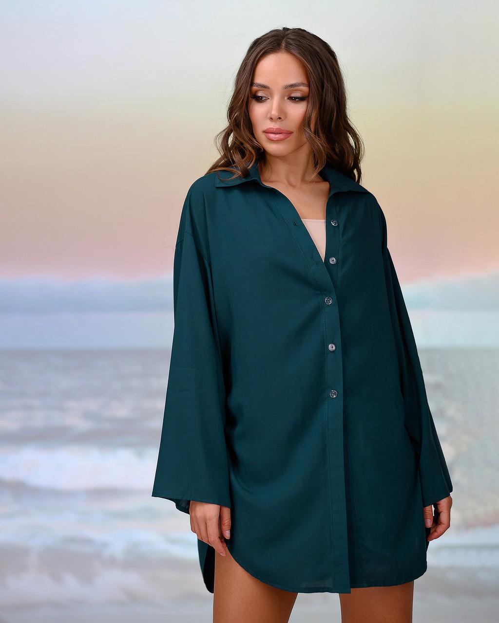 Короткая пляжная туника-рубашка.Цвет изумруд. Размер 46-48