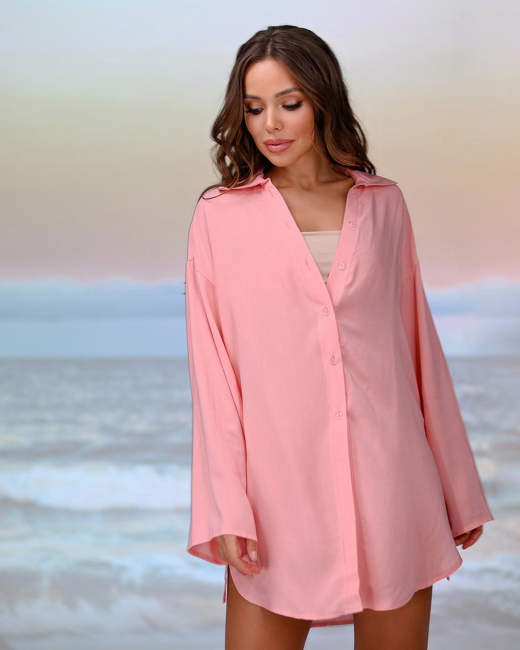 Короткая пляжная туника-рубашка.Цвет персик. Размер 46-48