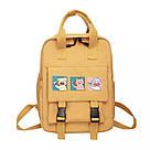 Сумка рюкзак для подростка школьный, водонепроницаемый желтый  в стиле Канкен Flame Horse, фото 3