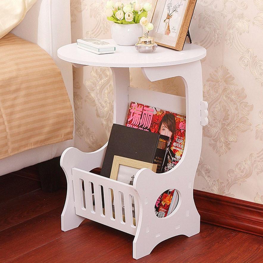 Компактный круглый прикроватный столик (Белый 36х46 см) маленький журнальный столик в спальню (NS)