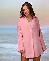 Коротка пляжна туніка-сорочка.Колір персик. Розмір 42-44