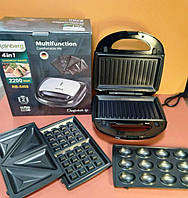 Мультимейкер Rainberg RB-5408 4в1 2200W Электрогриль, сэндвичница, вафельница, орешница, фото 1