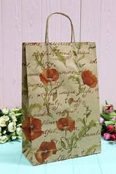 """Бумажный подарочный крафт пакет """"Маки"""" на сером 24*37*10см 10шт/уп (100шт/ящ)"""