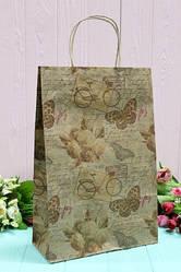 """Бумажный подарочный крафт пакет """"Бабочки и велосипед"""" на сером 24*37*10см 10шт/уп (100шт/ящ)"""