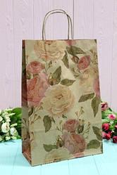 """Бумажный подарочный крафт пакет """"Крупные розы"""" на сером 24*37*10см 10шт/уп (100шт/ящ)"""